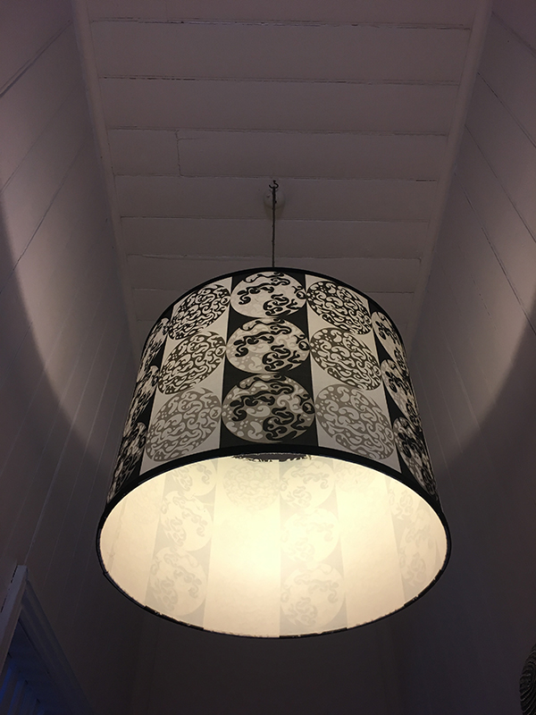 Light Shades in 'Ta'too' $180 each  White French also has hand bags in the same pattern design on a smaller scale.