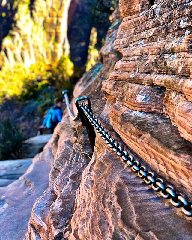 The last half mile is completed by walking a narrow shoulder with cliffs plunging to the canyon floor on both sides. The park service kindly supplied this chain to hold onto.