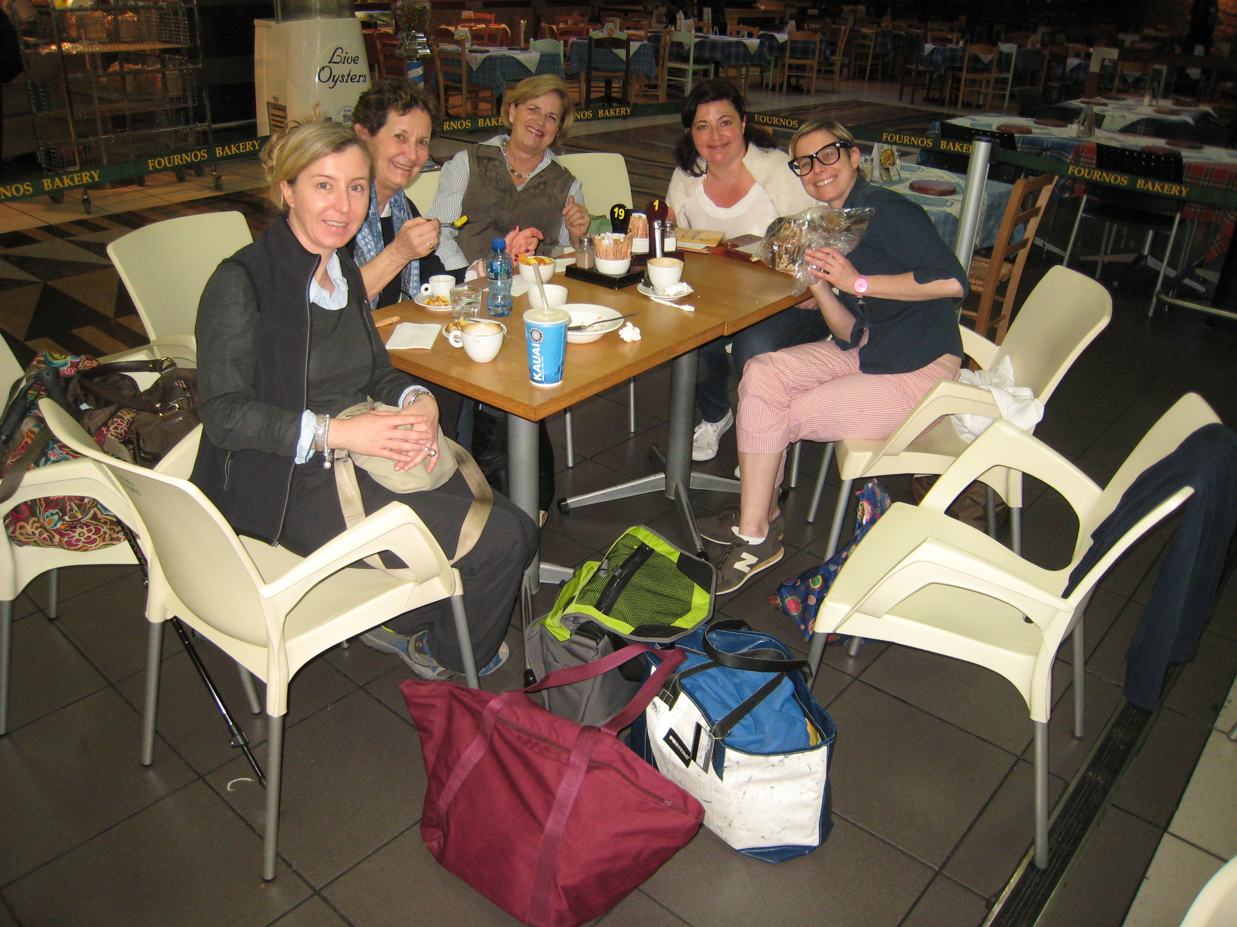 The Zim-Botswana team- from left to right: Isabella, Donatella, Jane, Kate and Marta (Breakfast with colomba at O.R. Tambo, on the way to Vic Falls)