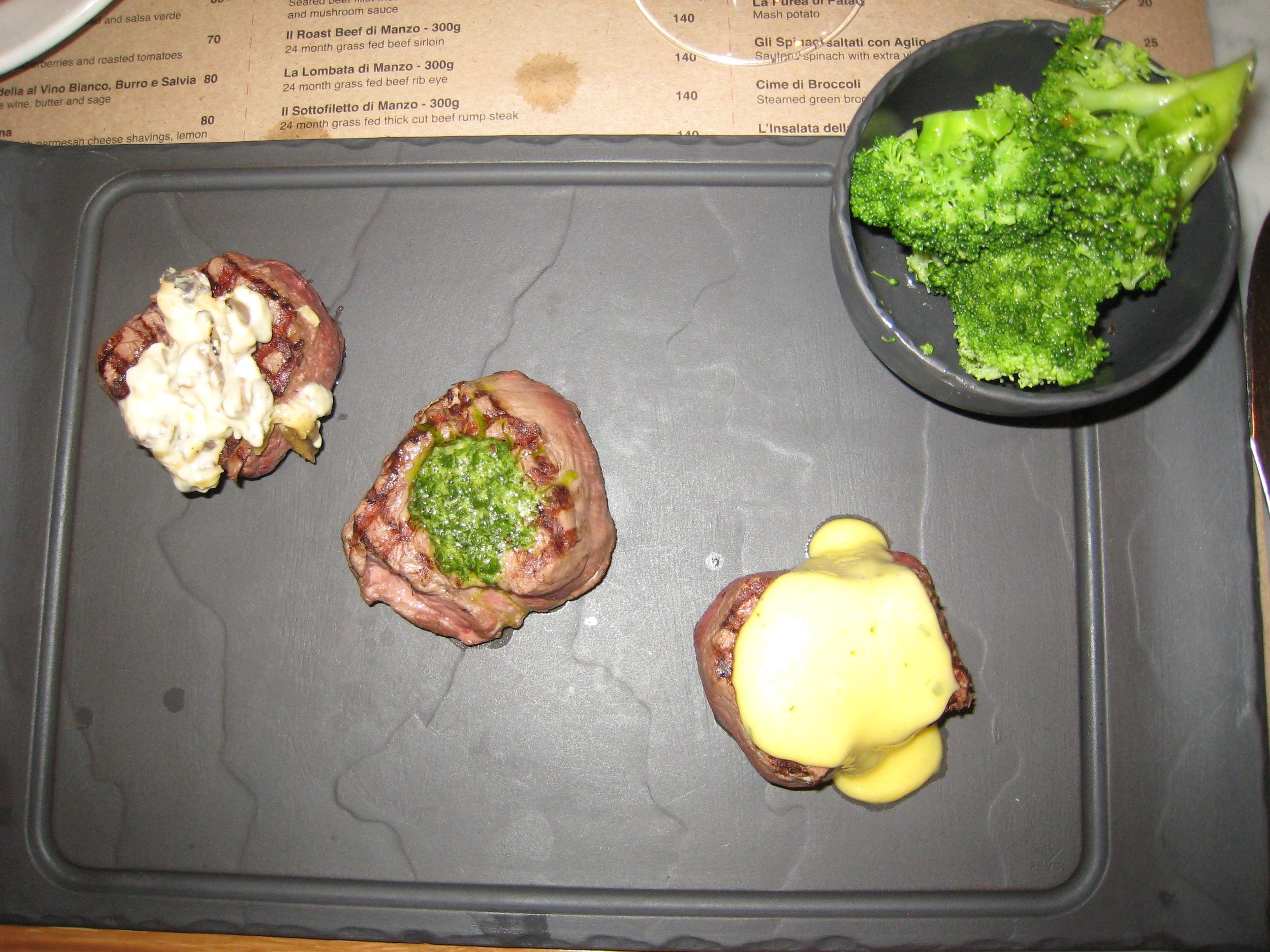 Filet mignon variations, ordered by Marta
