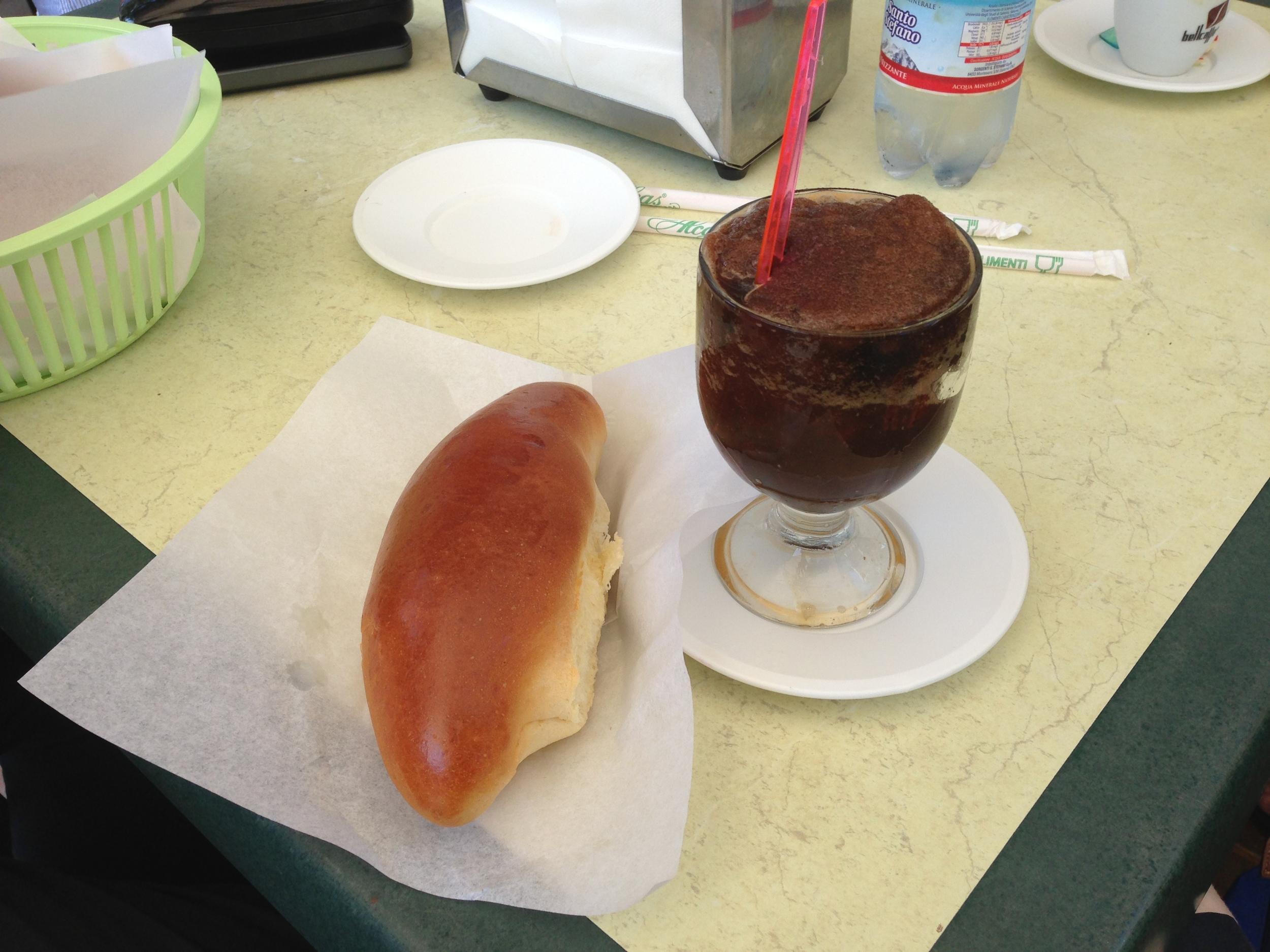 Coffee flavored granita, with brioscia.