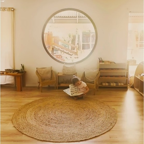 "Windows can make such a difference! Featuring our interior design and round window at ""The children's house"" such a beautiful and magical space!! #hopeislandmontessori #childcaredesign #childcarecenter #montessori #hopeisland #education #design #designer #building #buildingdesign #buildingdesigner #brisbane #australia"