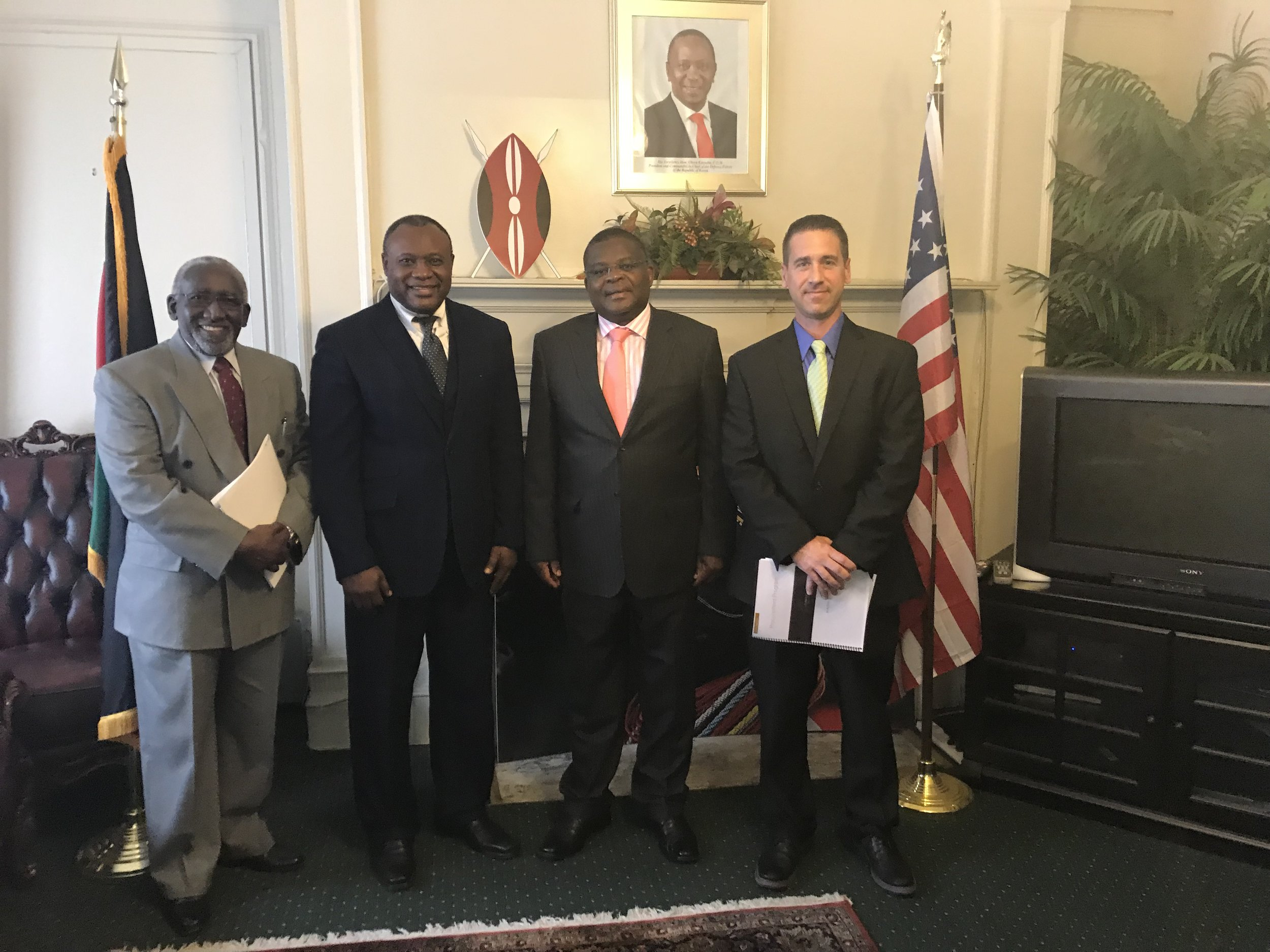 Dr. Gatabki, Thomas, His Excellency Robinson Githe, Ambassador to Kenya, and Brian