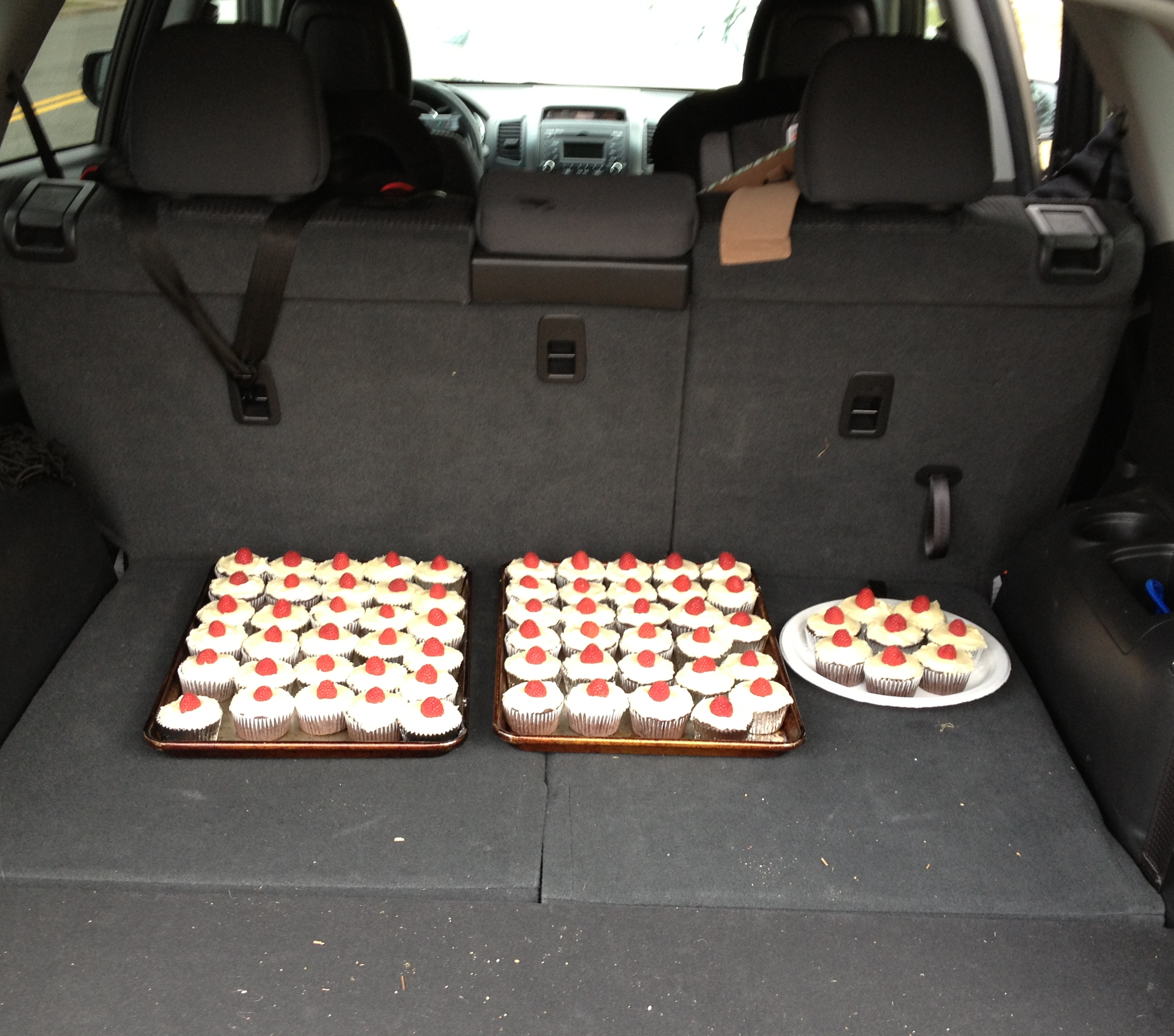Cupcakes loaded up in the trunk