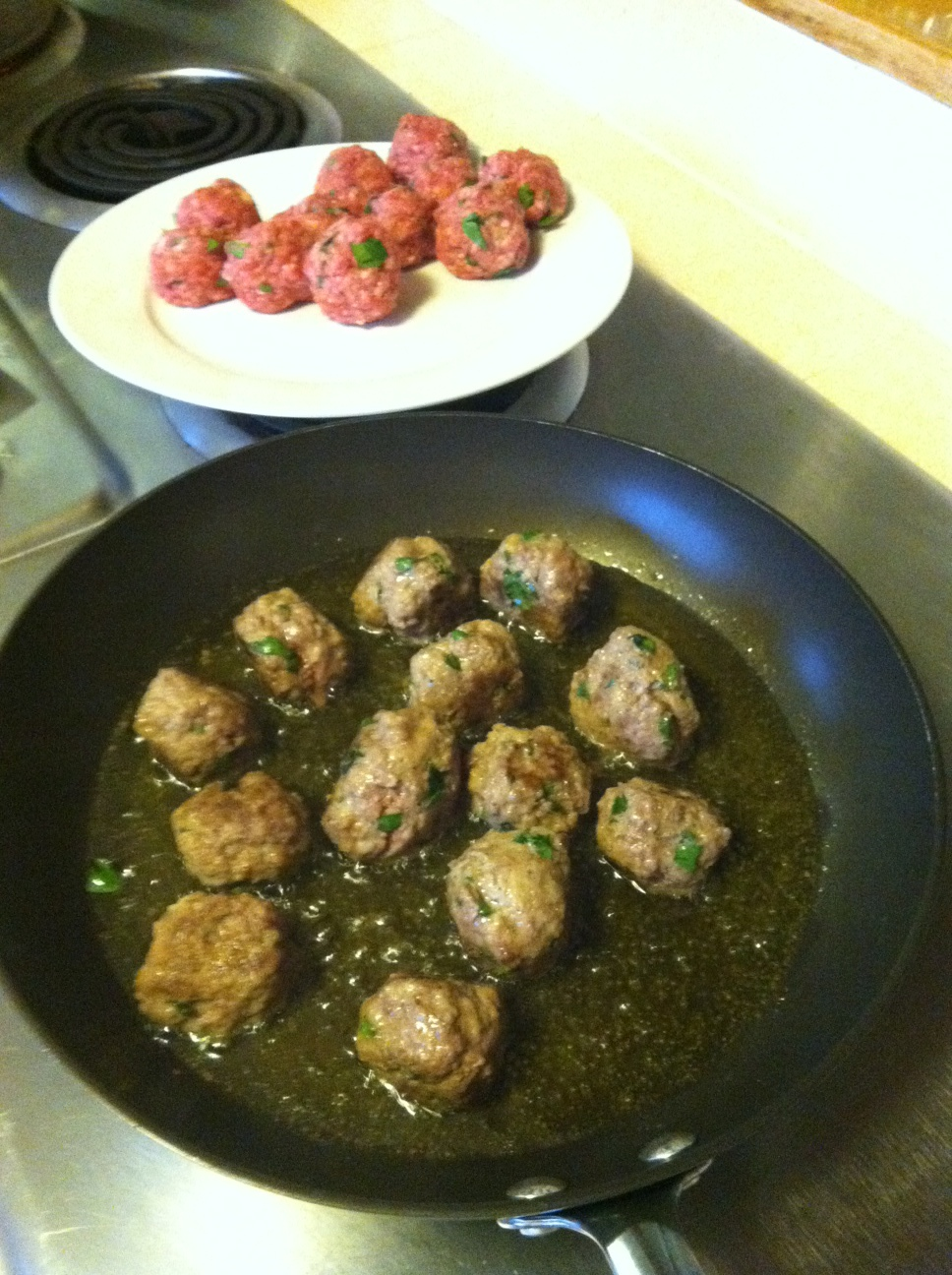 First batch of meatballs in the works