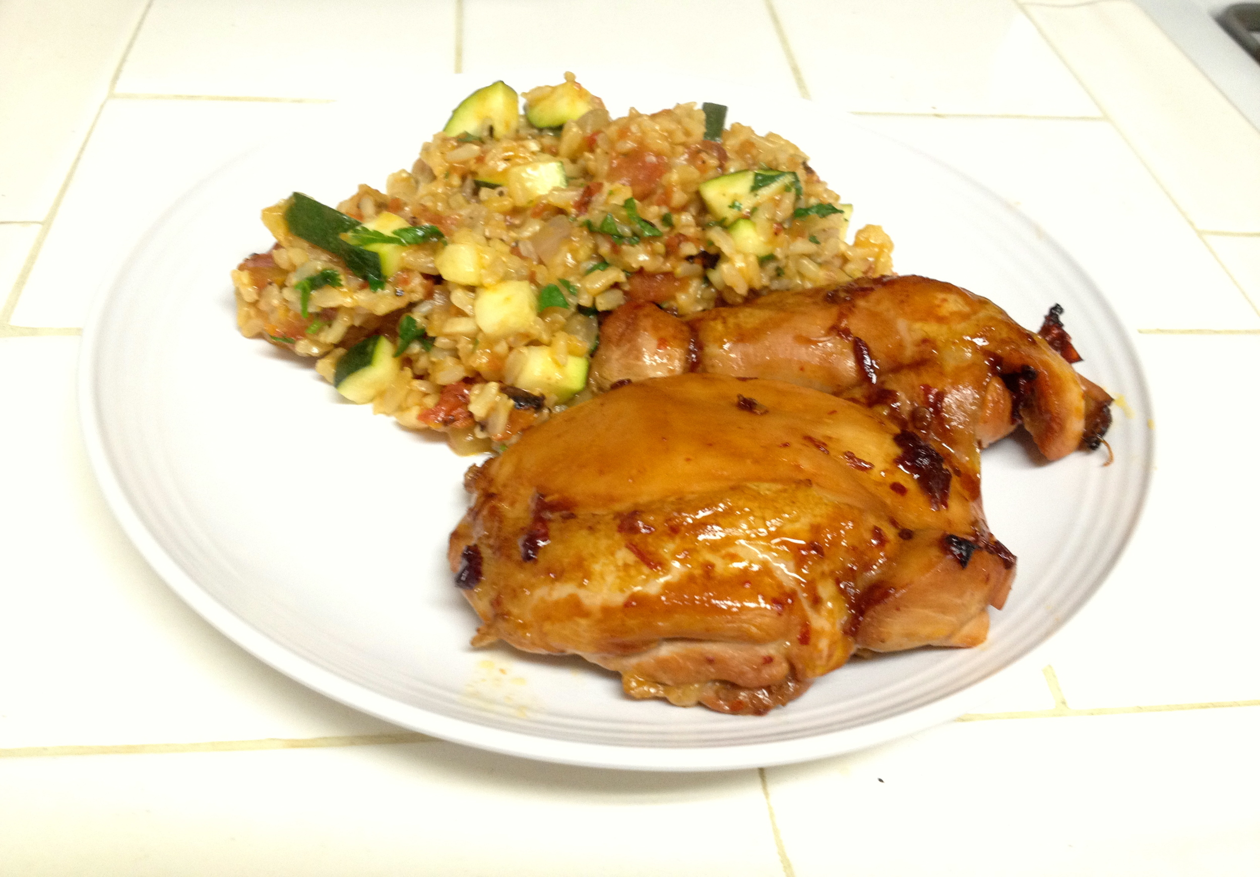 Latin baked chicken and Spanish rice