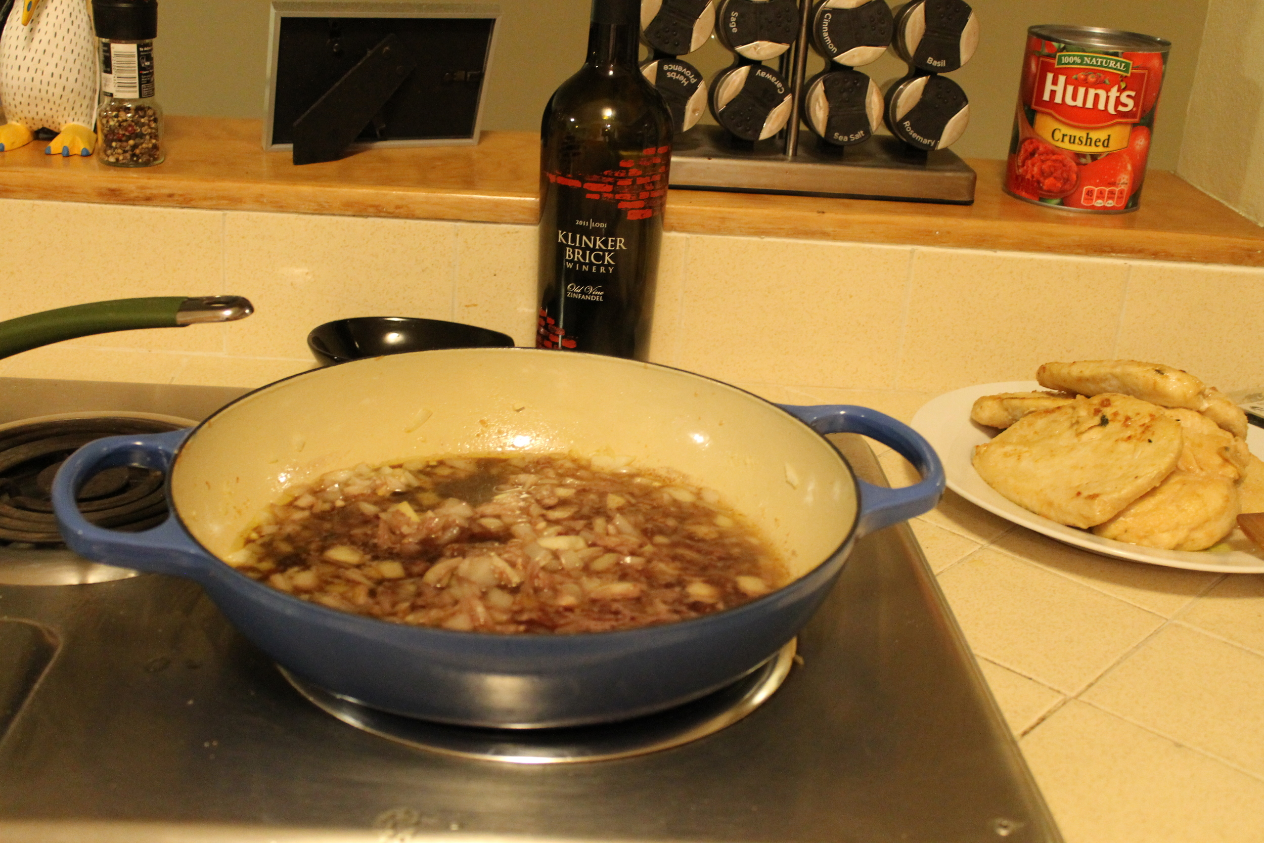 I used a zinfandel for the wine to deglaze the pan (this is also a good one for drinking along the way!)