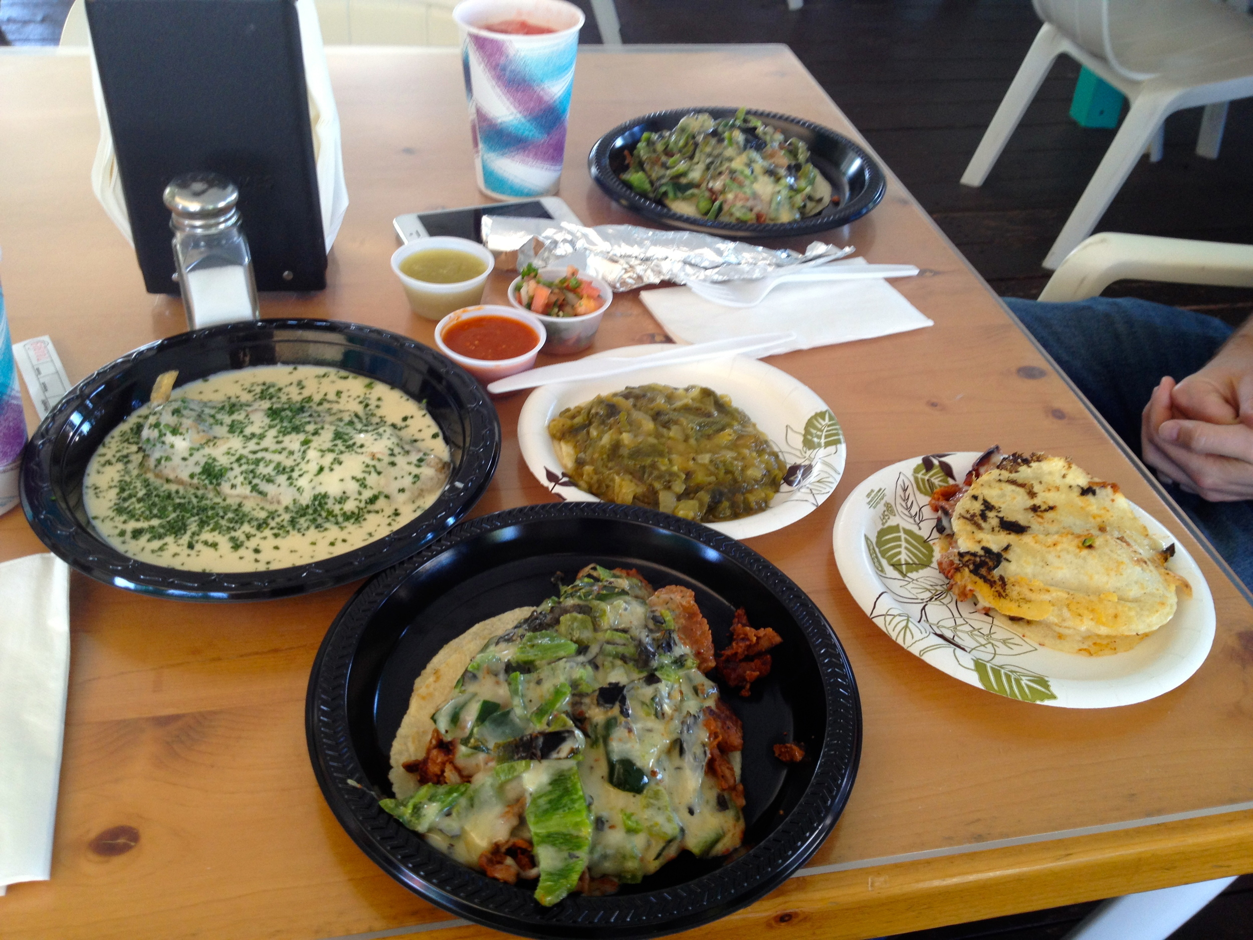 From left to right: Chile relleno, Super-Rica Especial, rajas taco, chorizo quesadilla (and the second Especial in the back)