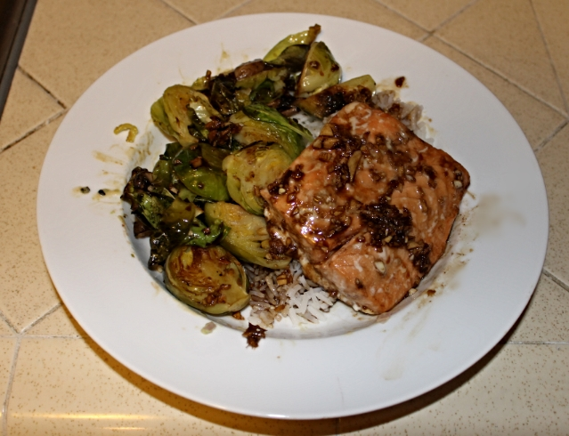 Served with over rice with roasted brussels sprouts and mushrooms as suggested by Self