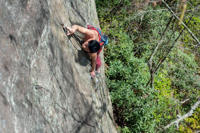 Jon climbing Sam