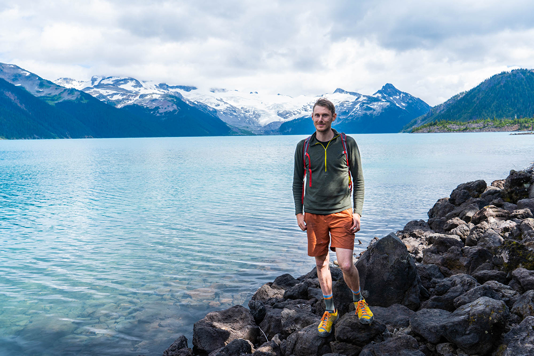 A shot of me at Garibaldi Lake, and the Sphinx Glacier in the background.