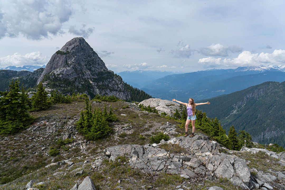 Kirsten loving life with Mt. Habrich in the background.
