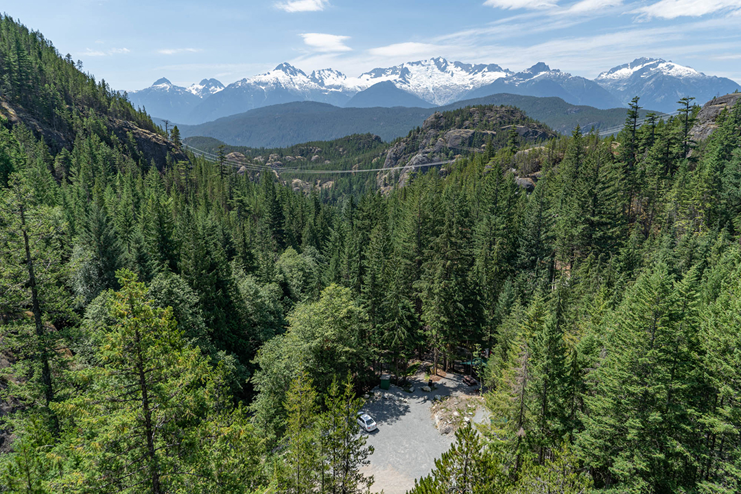 A birds eye view of camp and the Tantalus Range.