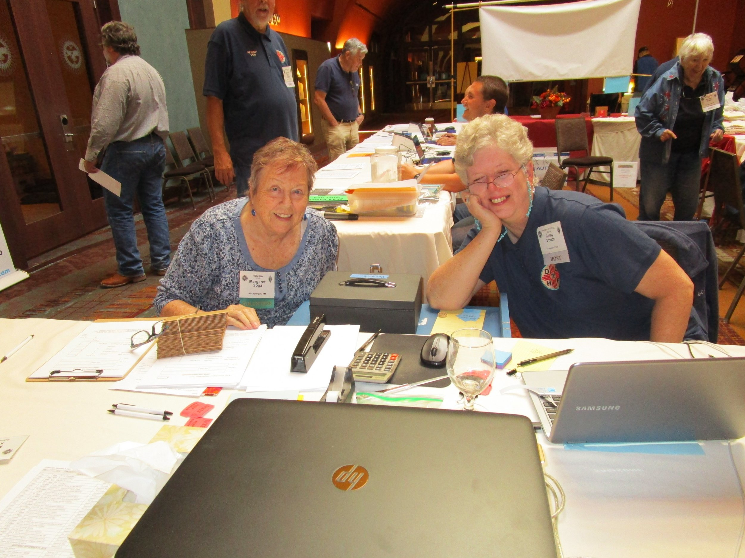 Margaret Goga & Cathy Spotts heading up the registration booth.