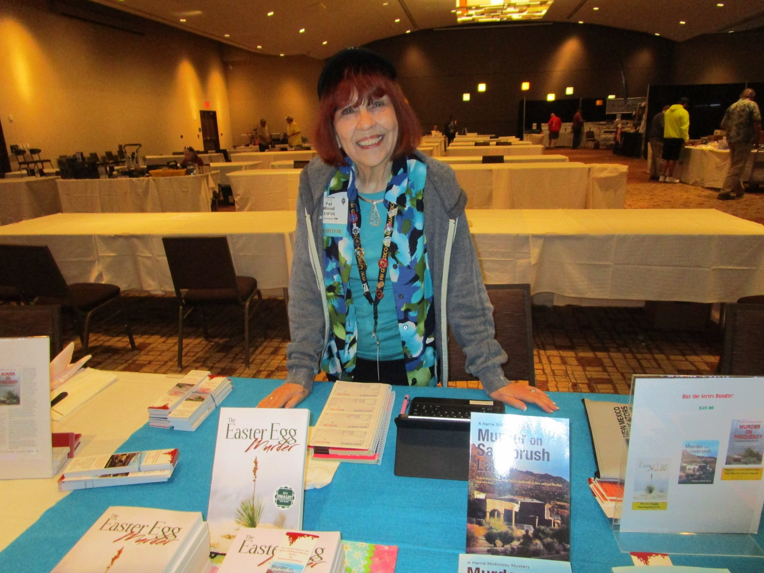 Pat Wood, KE5FVS, famous local author, selling her books.