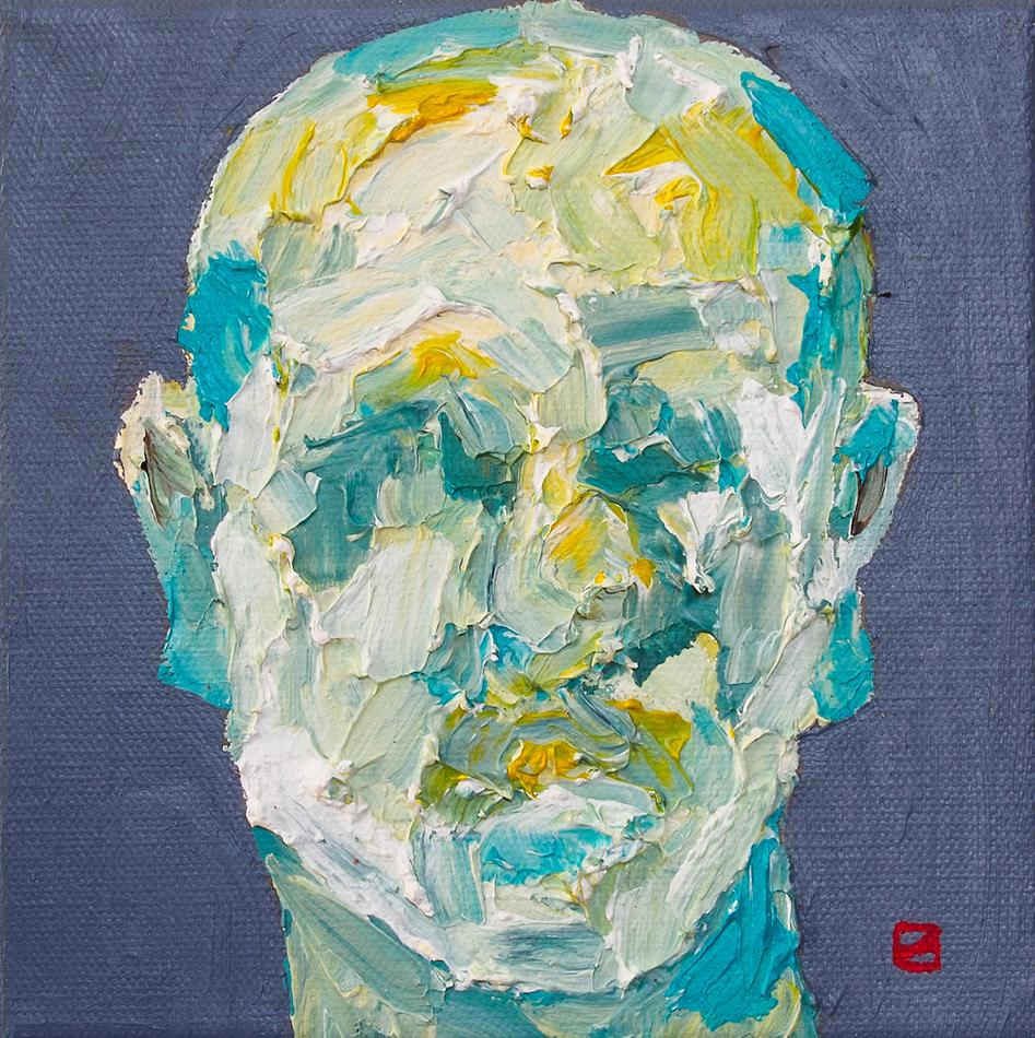 "Head Study on Grey  6 x 6"" Acrylic on Canvas"