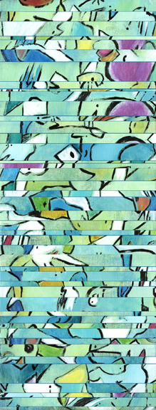"""""""  Innocence, In A Sense  """" acrylic on linen strips stretched over canvas 42x16 in."""