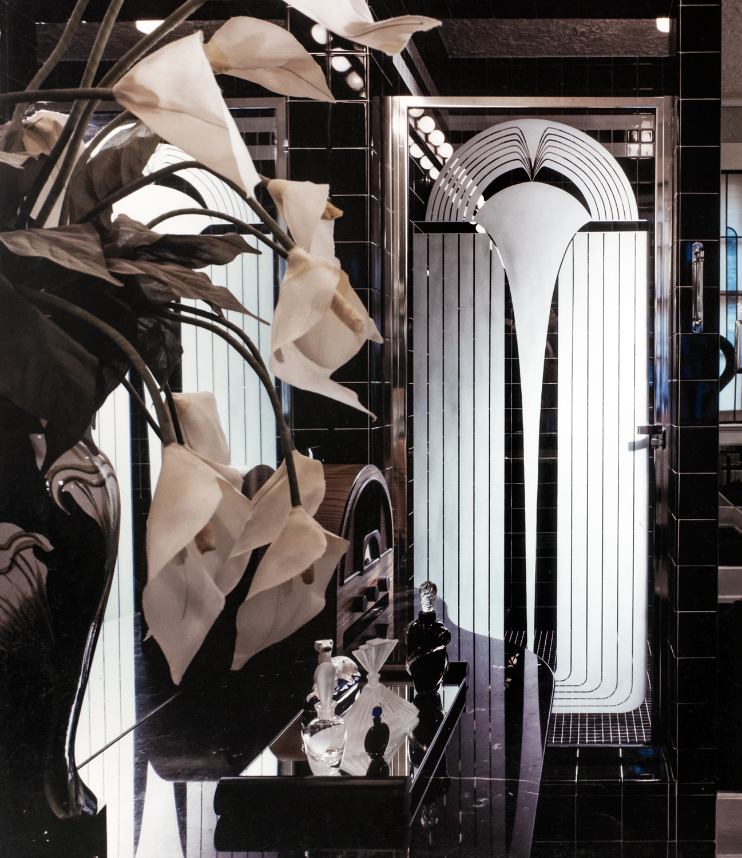 Custom shower door with Art Deco design by Birmingham Glass & Mirror