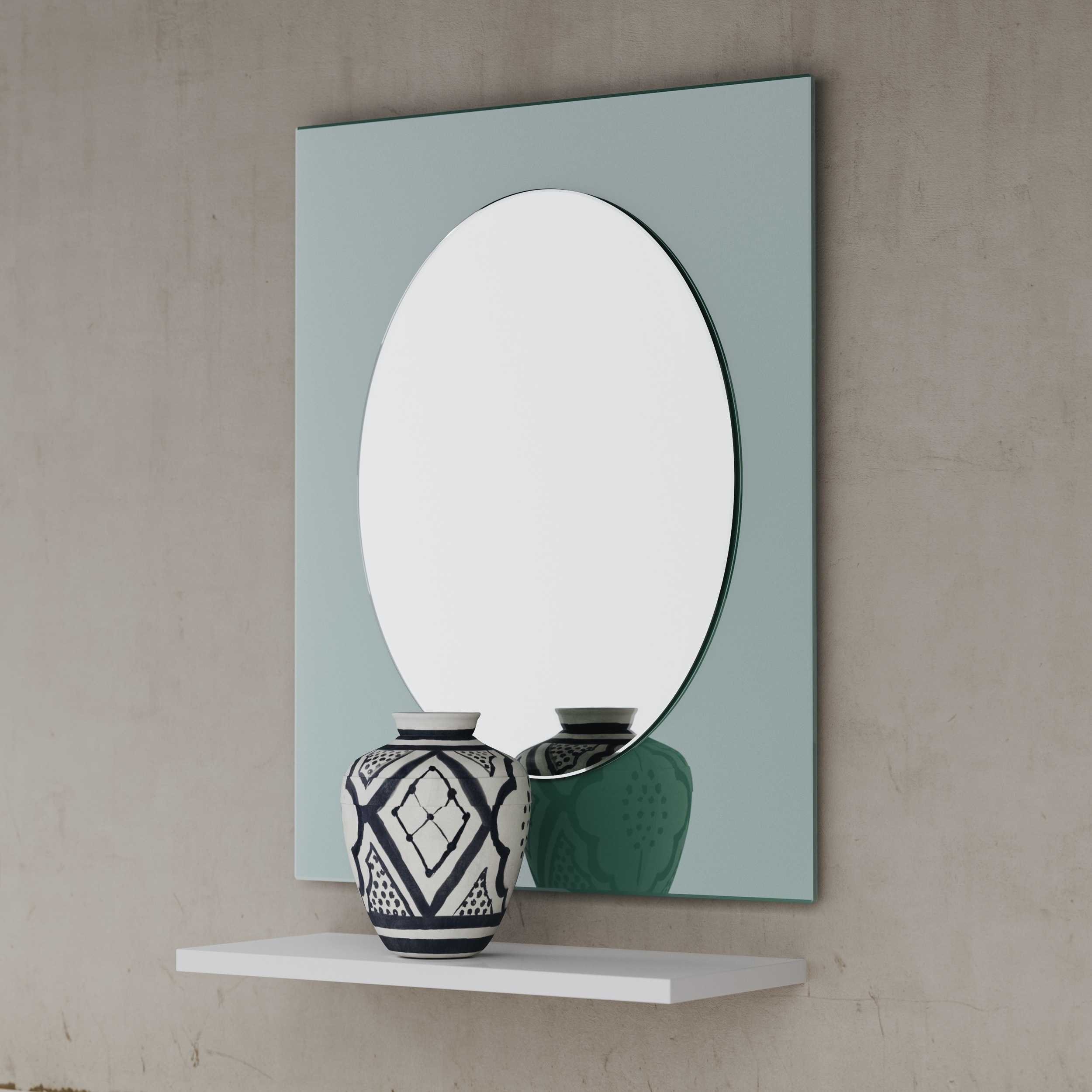 Green Mirror with Oval Center