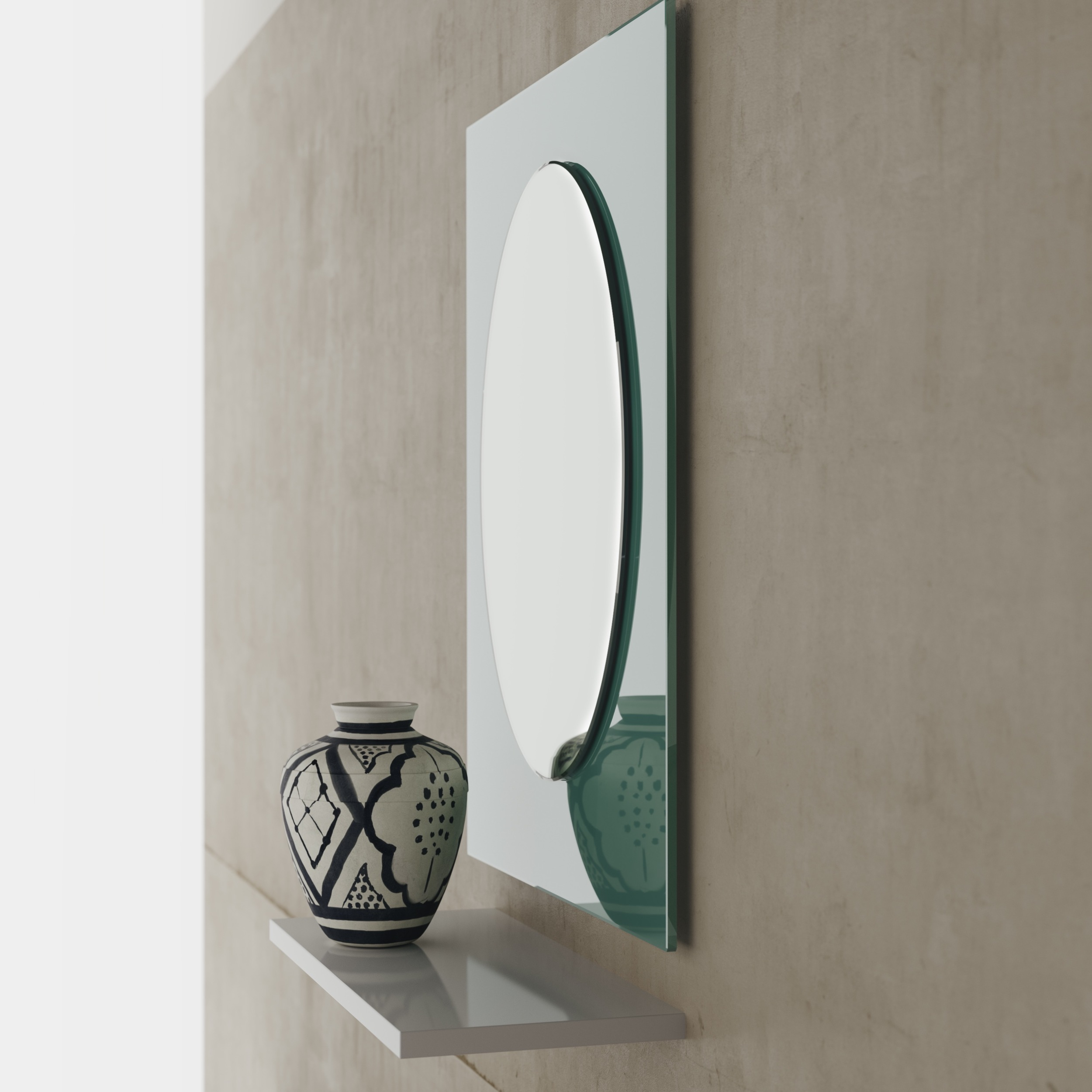 Side View of Green Mirror