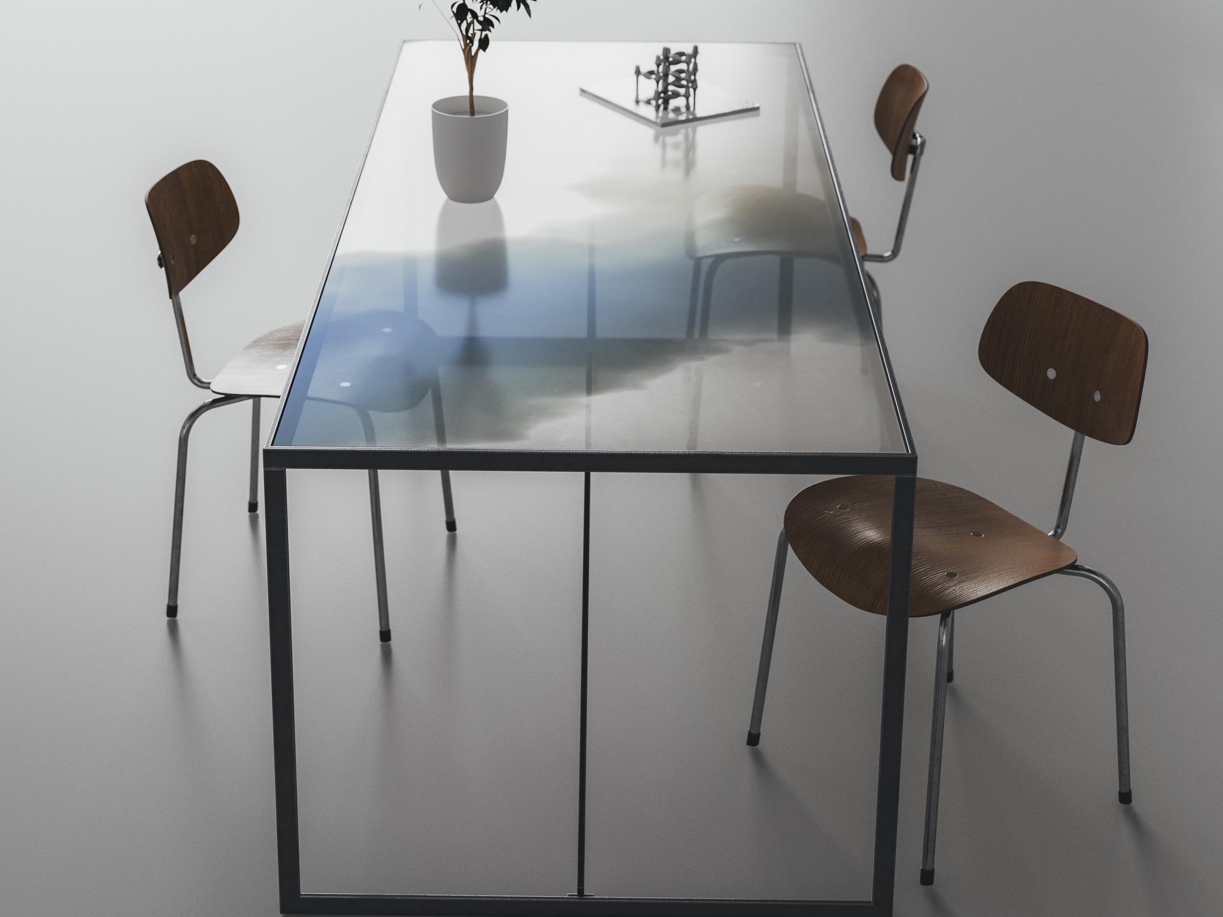 Side view of Blue Table Top