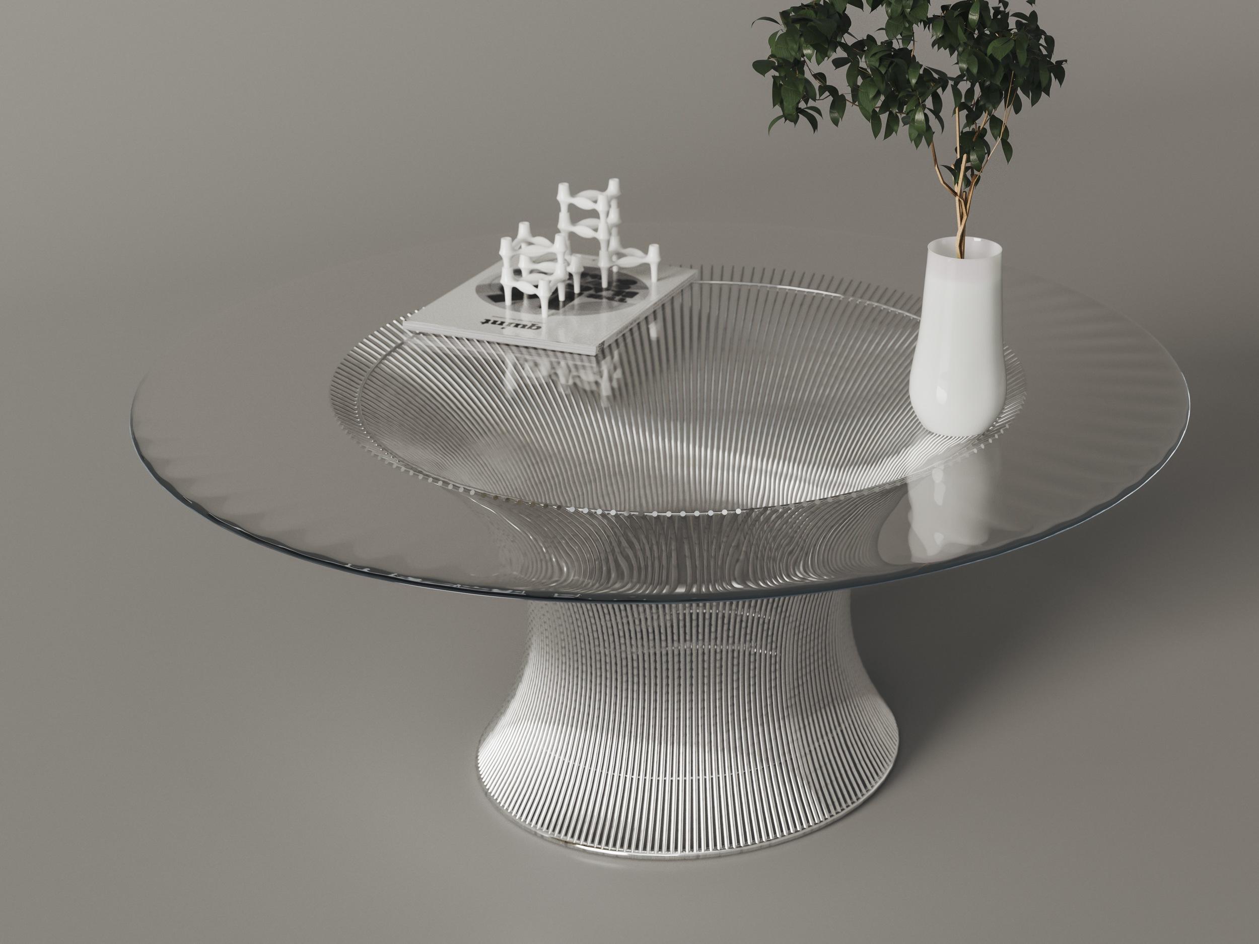 Custom Chrome Table Base with Glass Top
