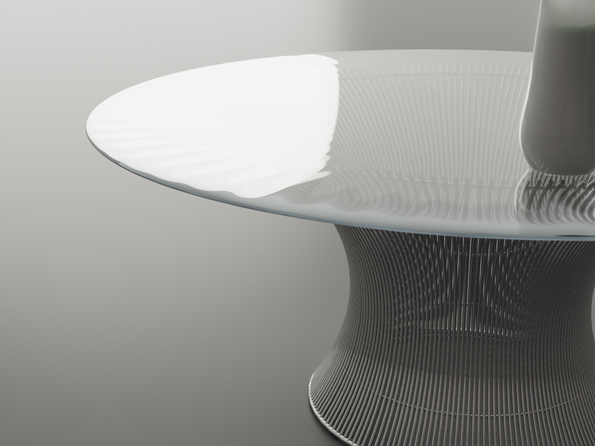 Close up photo of chrome table base
