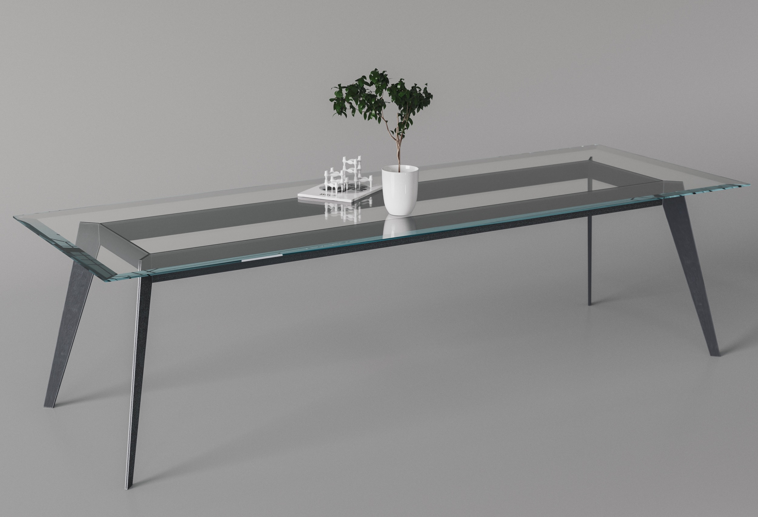 Full photo of table with custom blue table top
