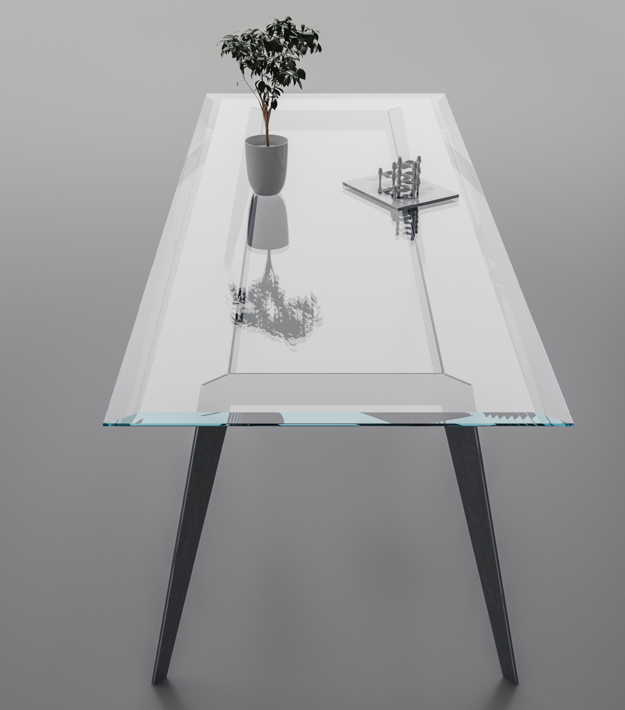 Long view of custom bevelled table