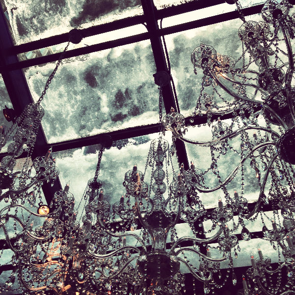 One up-side to 'the storm of the century': a beautiful topper at the Mondrian Soho's greenhouse restaurant.
