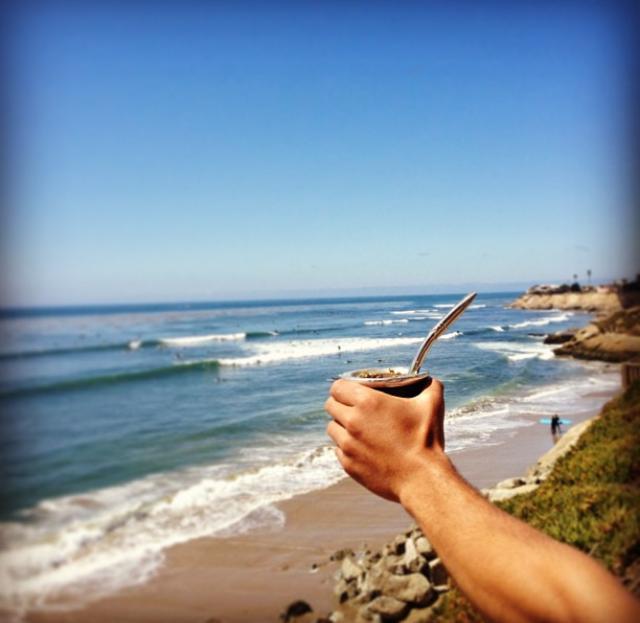 The drink of the gods - pre surf in Santa Cruz, CA