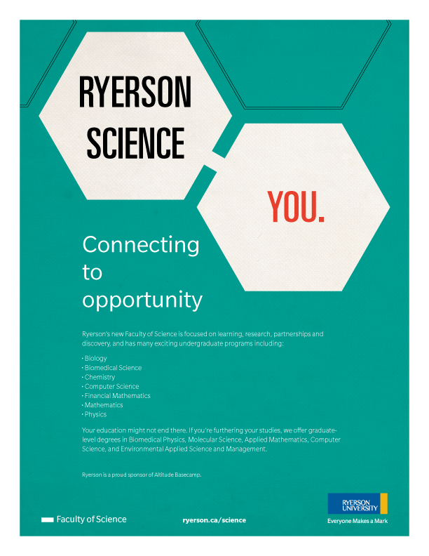 Ryerson Faculty of Science - Altitude Basecamp Sponsorship Insert Ad