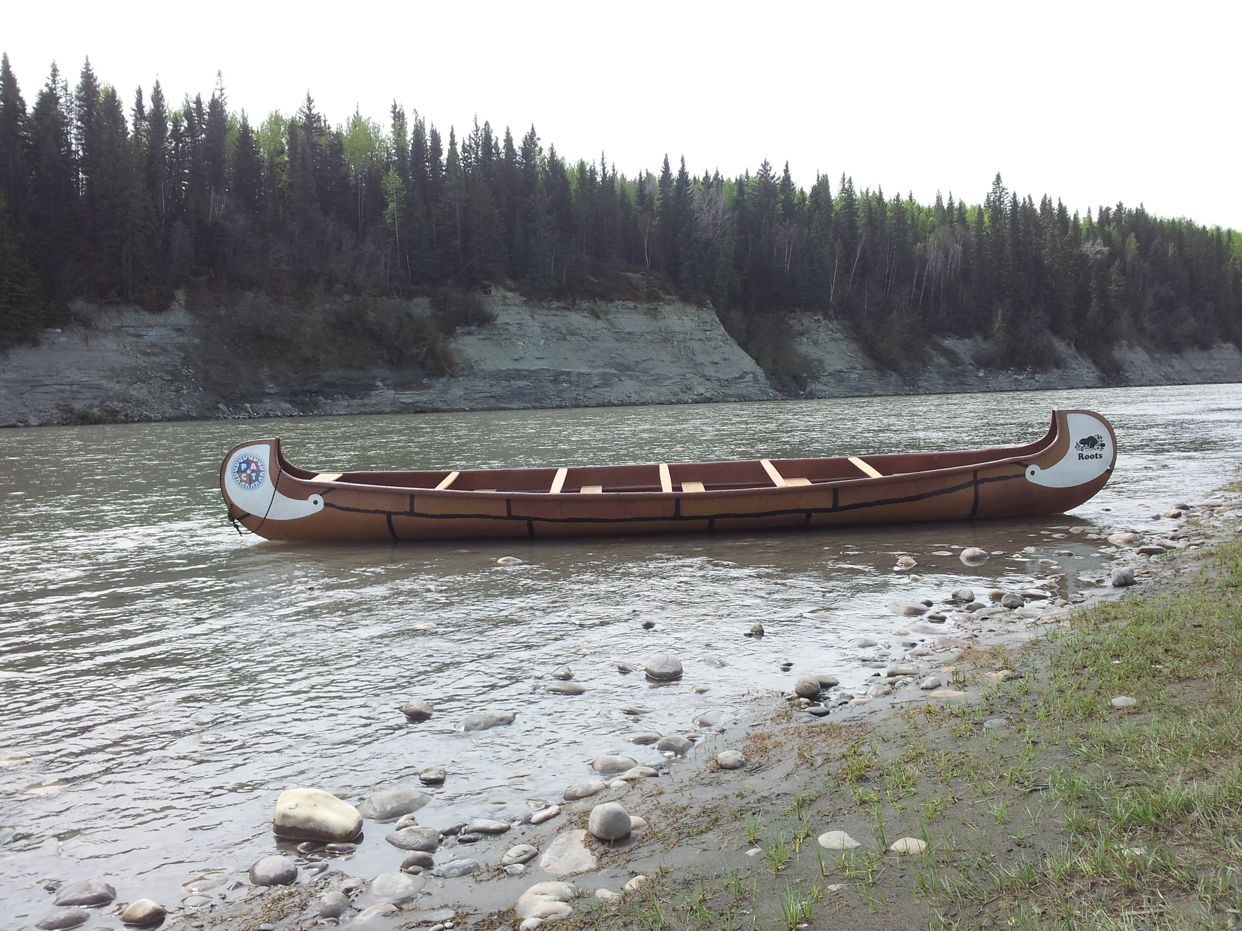 Our fine vessel at our departure point on the North Saskatchewan River