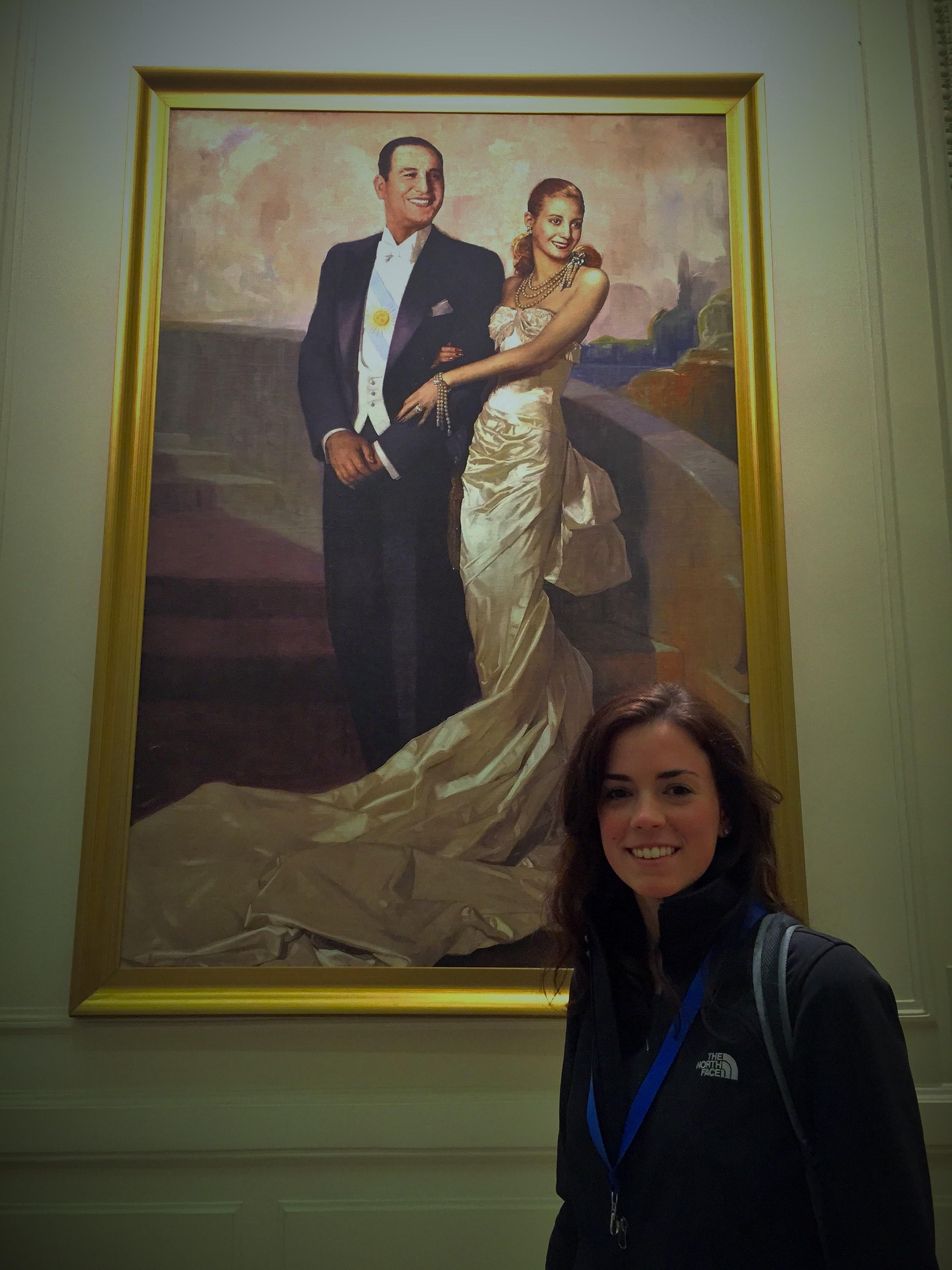 Portrait of Eva and Juan Peron hanging in Casa Rosada, the presidential palace.