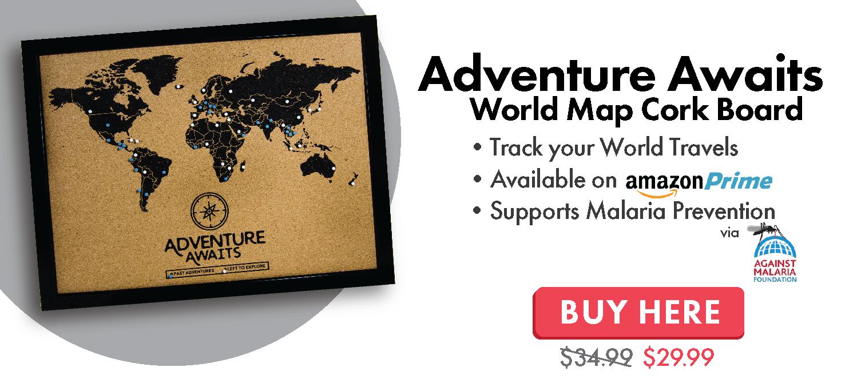 Adventure Awaits World Map Cork Board with Push Pins
