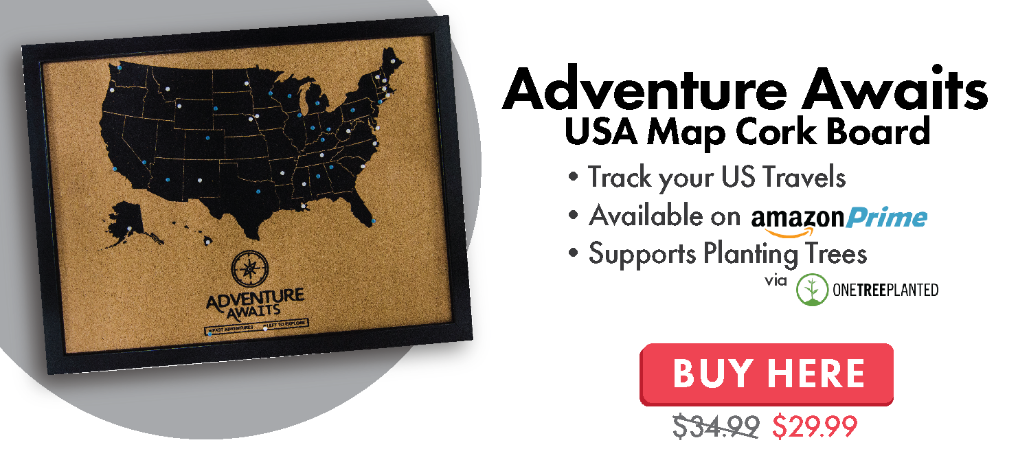 US States Map Cork Board with Push Pins