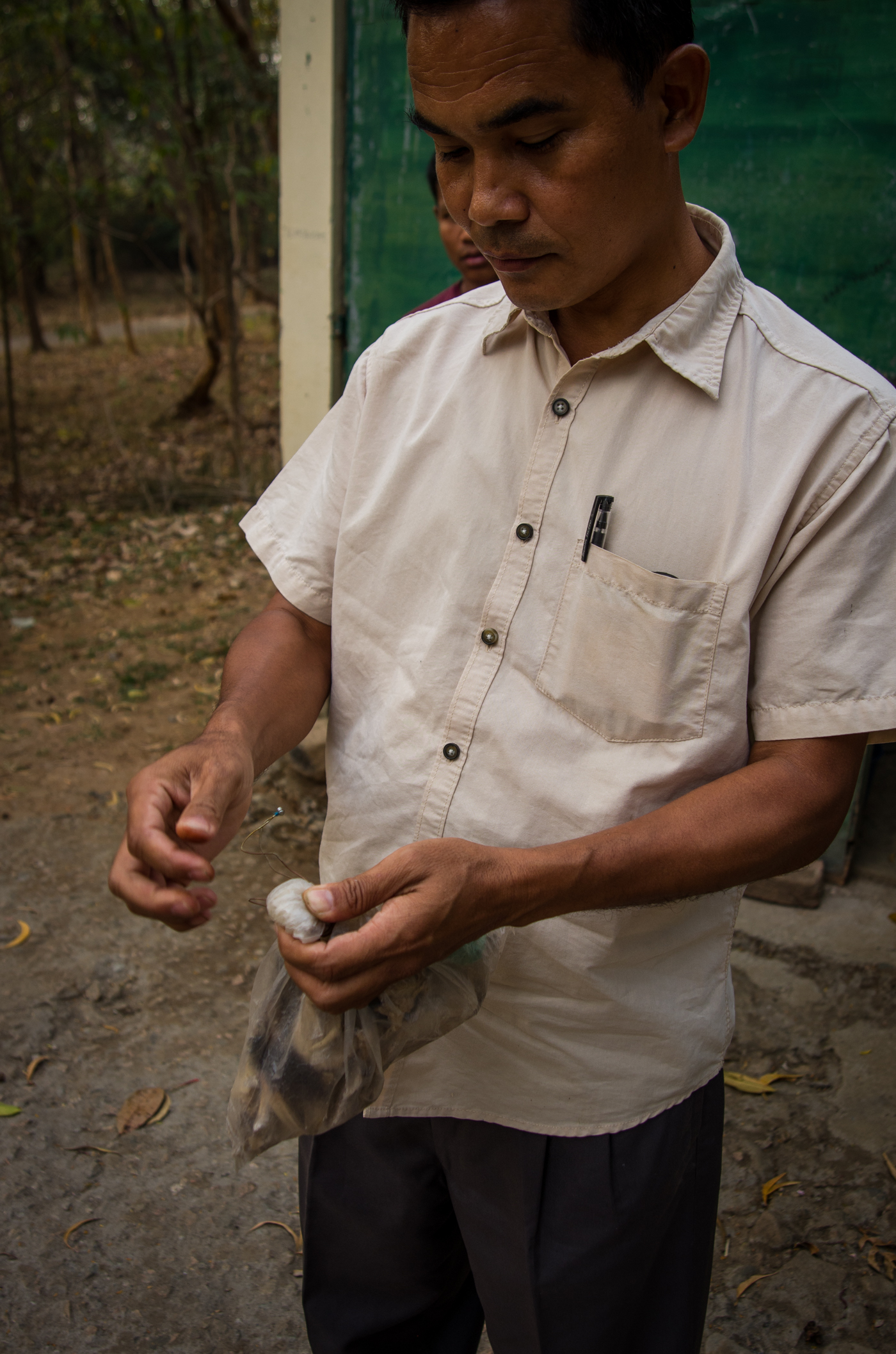 Pakseng A.Sangma, Meghalaya forest manager in Tura, showing confiscated pieces of illegally killed animals used for traditional medicine on the black market.