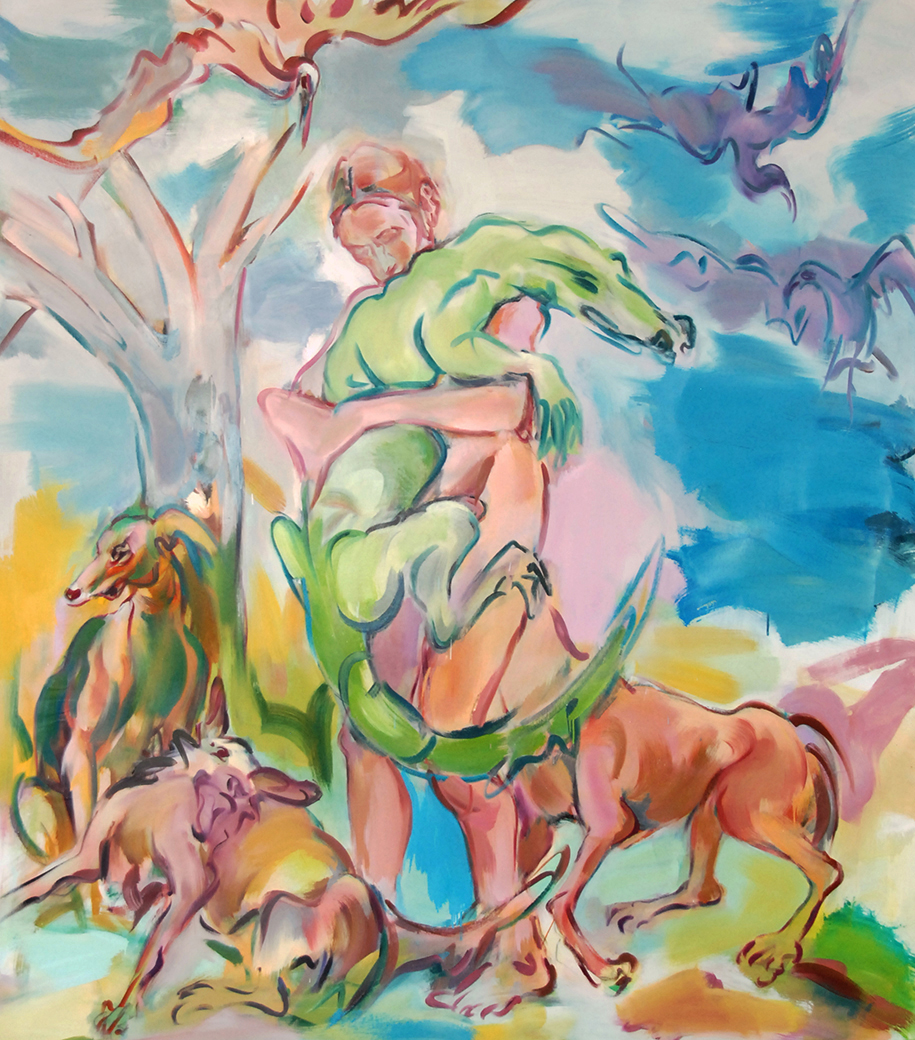 "14) ""Salvage,"" 2019 oil on canvas 78"" x 68"" $18,000"