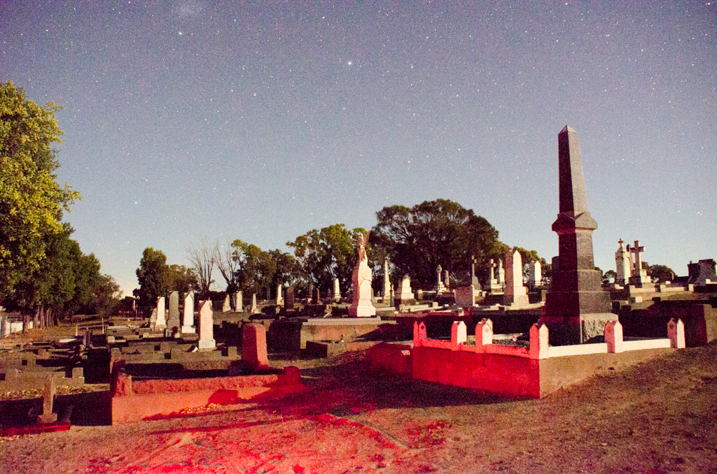 Kingston Cemetery at night