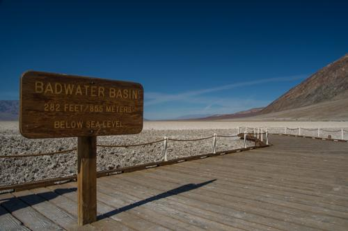 Badwater Basin - lowest point in the US and badlands erosion at Zabriskie Point
