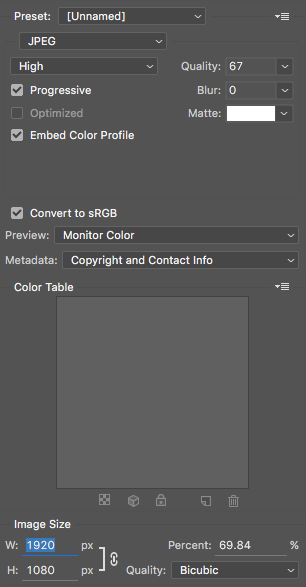 Save for web dialogue showing recommended settings (Photoshop cc version)