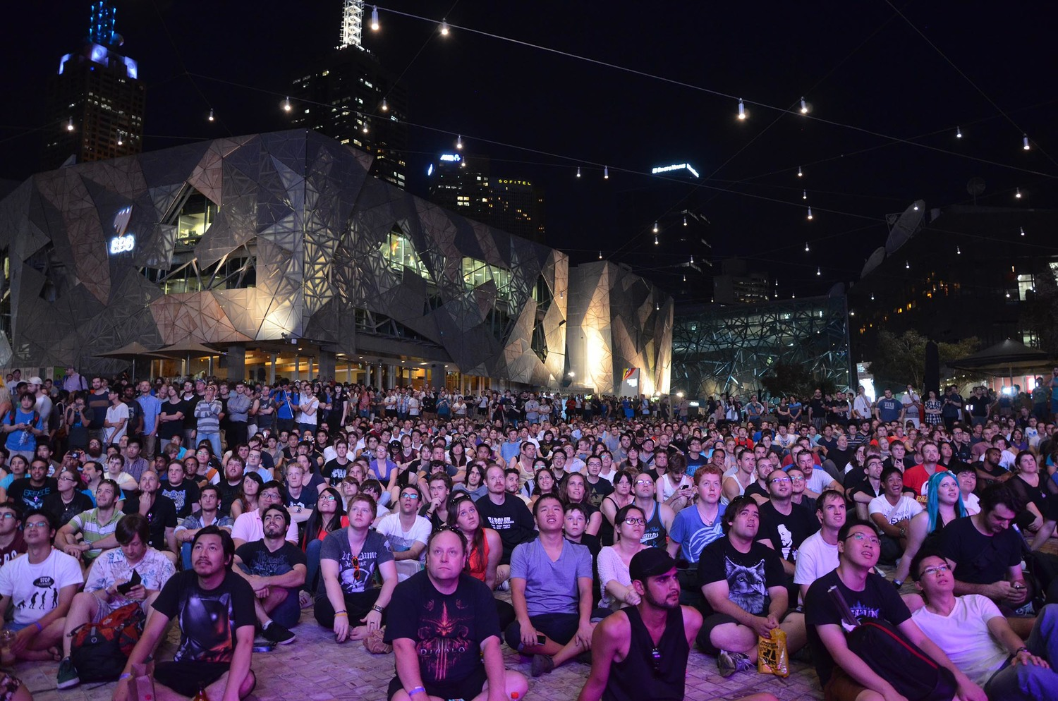 Audience at Federation Square, Melbourne