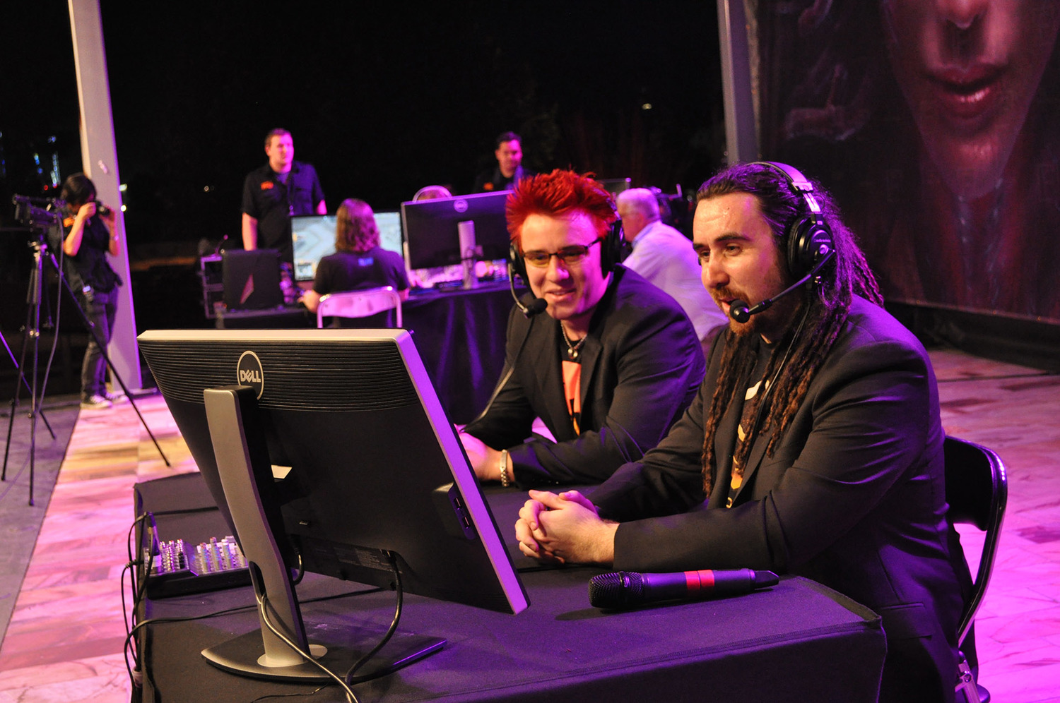 Flamga and Maynarde casting at the Heart of the Swarm Launch
