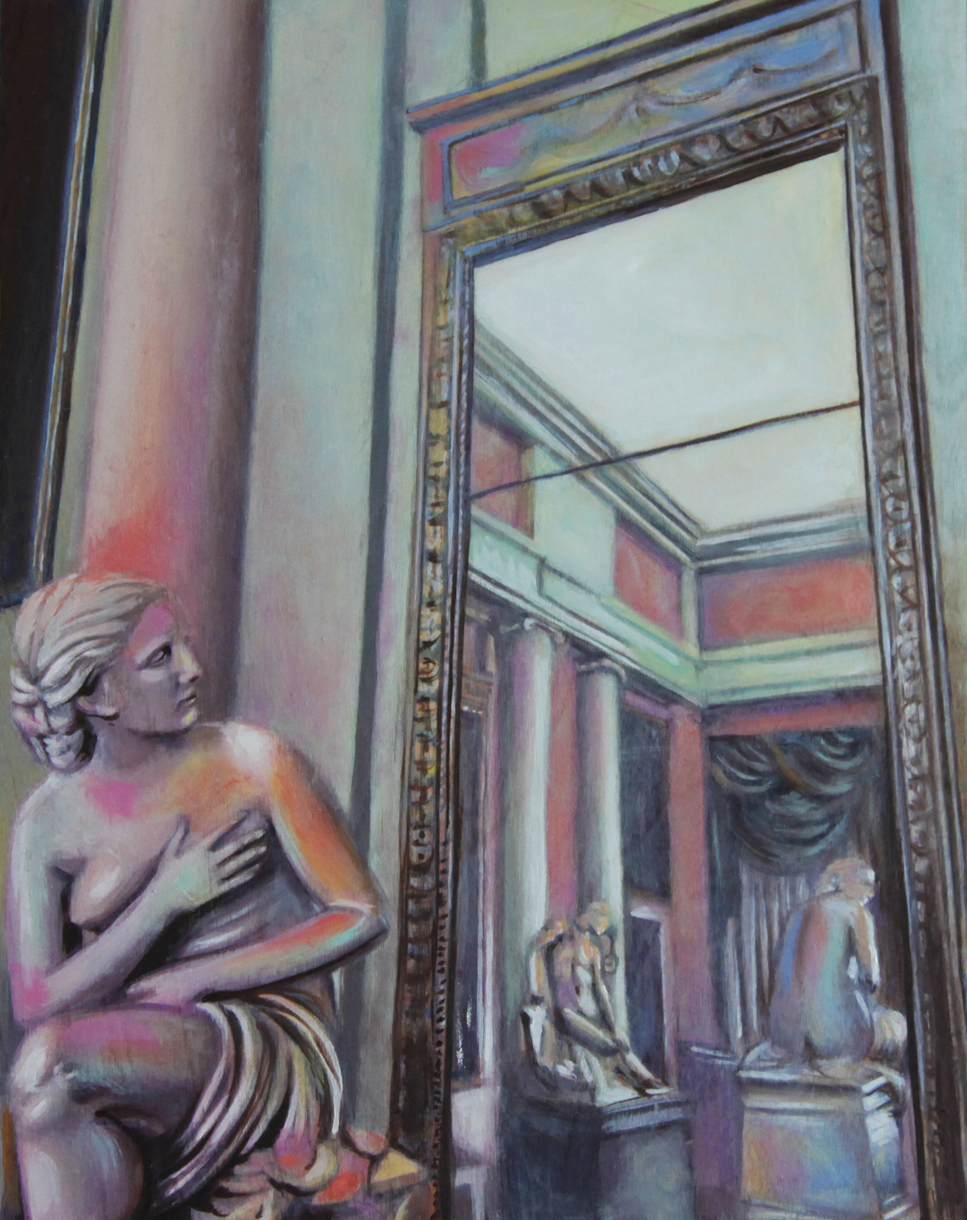 Woman in the Mirror, 2016, Oil on wood panel