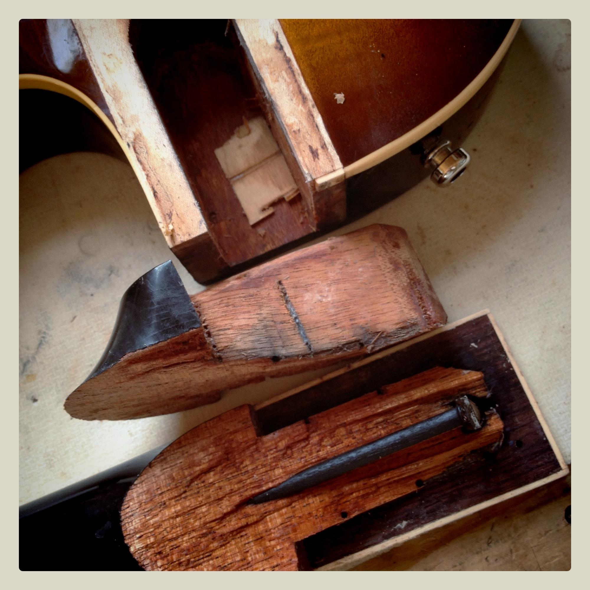 Les Paul neck removed to repair broken heel
