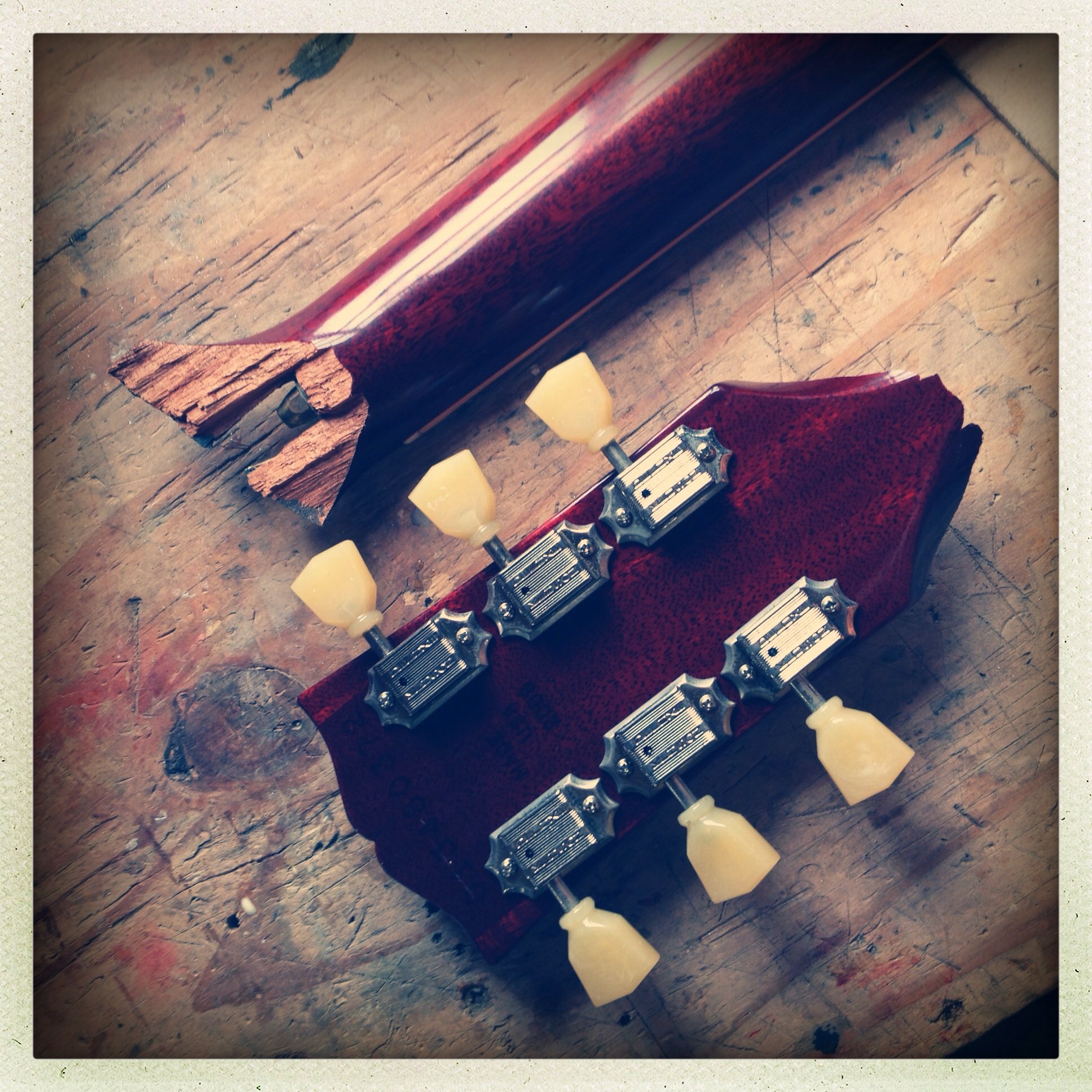 Broken Gibson headstock repair