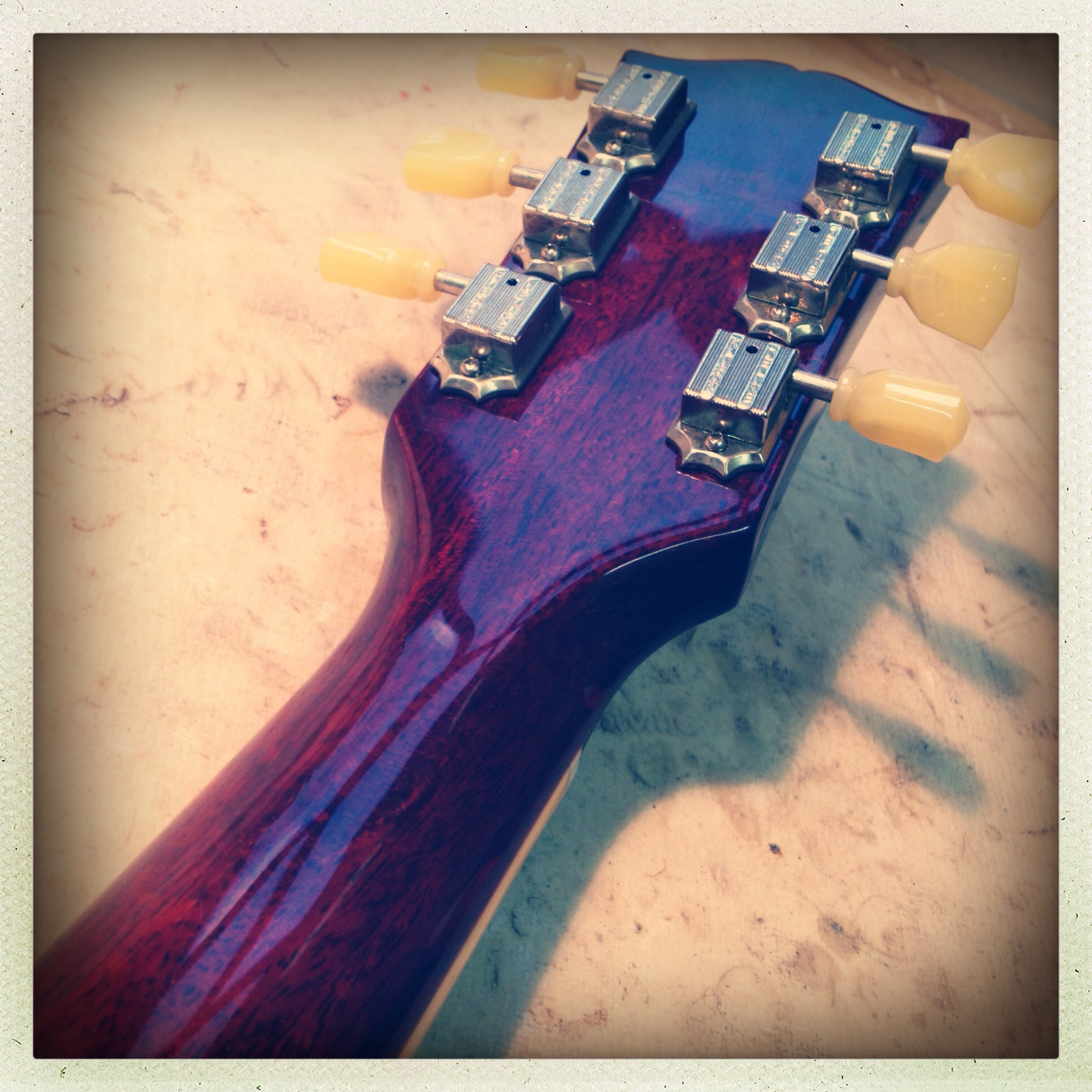 Gibson headstock break repaired with backstrap overlay