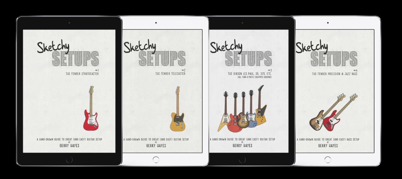 Sketchy Setups guides to guitar and bass setup for Strat, Tele, Les Paul, SG. 335, Explorer, Flying V, Fender P-Bass and J-Bass