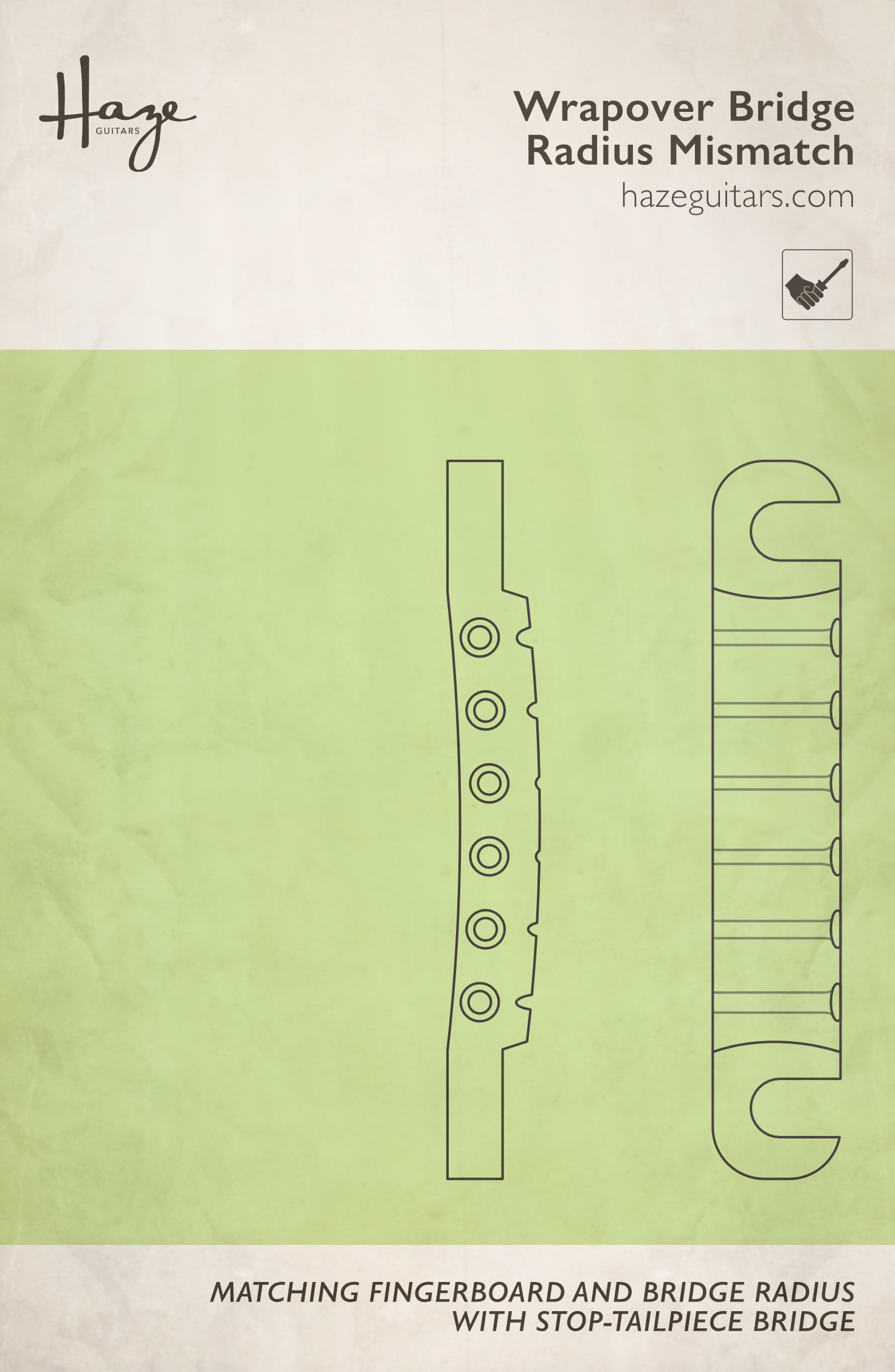 Matching fingerboard and bridge radius with a wraparound bridge