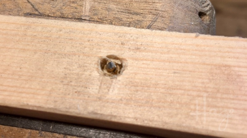 The 'plug' around the screw can be removed pretty easily. This is soft wood — you'll get a cleaner-edged hole on harder woods